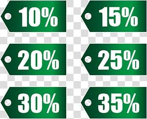 illustration de pourcentages de remise verte, Remises et allocations Run2Paradise, Ensemble de balises de remise vertes, partie 1 png