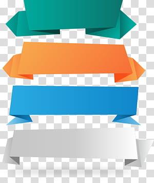 Ruban en papier pour bannière, 4 matériaux pour bannière en papier, quatre rubans de couleurs assorties png