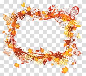 cadre feuilles d'érable, cadre lumineux opacité, décor de cadre d'automne png