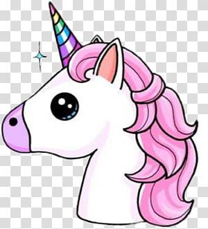 Licorne rose, dessin d'une corne de licorne, sticker Kavaii, unicornio png