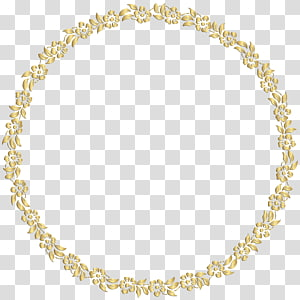 cadre miroir doré, bordure florale ronde doré, illustration de cadre floral png