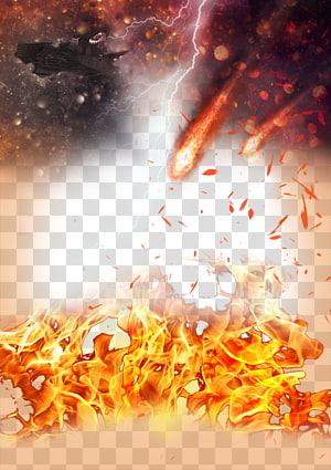 Fire, la fumée de matériel de guerre, la foudre et la météore png
