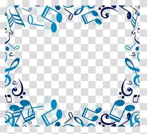 Note de musique, bordure de note de musique bleue png