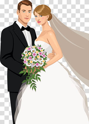 Faire-part de mariage Époux Mariage, le matériel de mariage de la mariée et le marié peint une étreinte, couple tenant un bouquet de fleurs png