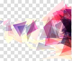 Forme géométrique triangle géométrique, fond géométrique triangle rose, peinture abstraite rouge et multicolore png
