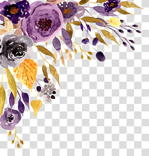Invitation de mariage fleurs aquarelle peinture, aquarelle fleurs, fleurs violettes, gris et noirs peinture png