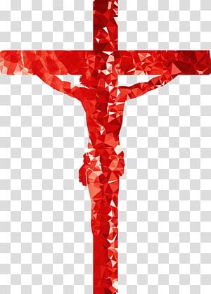 crucifix rouge illustration, crucifix croix chrétienne, croix chrétienne png