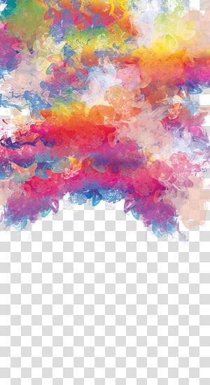 illustration de fumée blanche et violette, aquarelle: fleurs peinture à l'aquarelle, couleur créative fumée flottant pour tirer Gratuit png