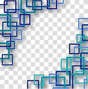 Forme de rectangle euclidien carré, fond de technologie, oeuvre carrée bleue et turquoise png