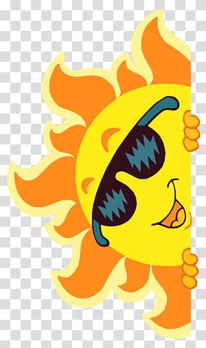 Fichier informatique du soleil, décoration du soleil souriant, illustration du soleil orange et jaune png