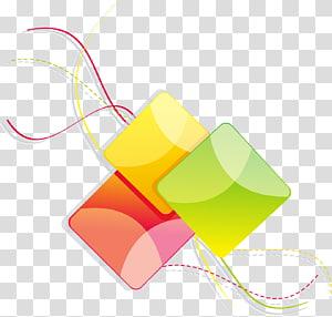 Icône de géométrie de ligne, carrés géométriques de lignes abstraites colorées, trois illustration de cube vert, jaune et rouge png