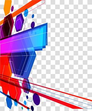 bordure bleue, rouge, violette et jaune, art abstrait euclidien, fond coloré de technologie png