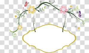 Hashtag Manger, frontière peinte à la main de fleurs fraîches, illustration de fleurs jaunes et roses png
