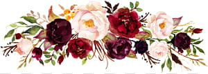 Faire-part de mariage vin Marsala Fleur, aquarelle rose, cadre roses rouges et roses png