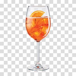 verre à vin clair rempli de substance liquide, vin de cocktail Prosecco Aperol Spritz, BALOON png