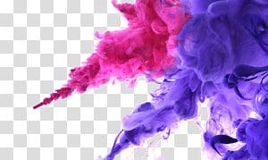 Encre de couleur qui fleurit à l'eau, de fumée rose et violette png
