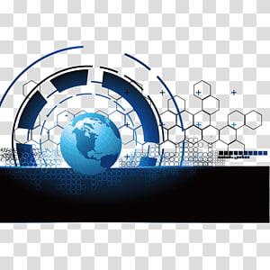 Illustration de la terre, fond de technologie de terre bleue png