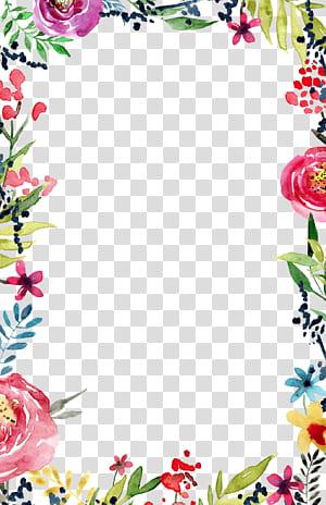 Modèle de bordure et de cadres de fleurs invitation de mariage, invitation de mariage, floral multicolore png