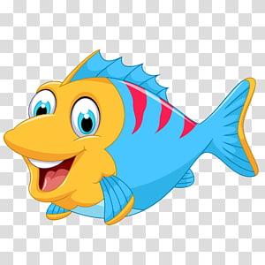 poisson bleu, rouge et jaune, dessin animé de poisson, poisson marin de dessin animé mignon png