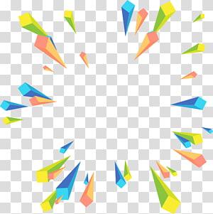 Géométrie euclidienne, perspective radiale géométrique abstraite colorée, illustration verte, bleue et jaune png