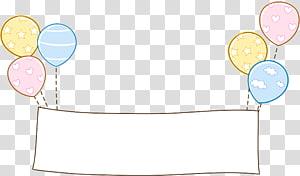 signalisation avec illustration de ballons, motif en papier jaune, bordure en ballon png