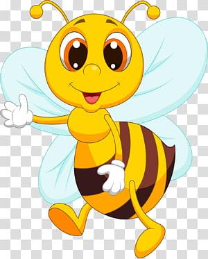 illustration animée abeille jaune et noire, Bee Cartoon, abeille mignonne png