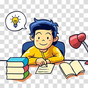 garçon écrivant sur papier, Student Learning Writing, travaille sérieusement png