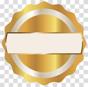 bord rond festonné logo doré, insigne, insigne du sceau d'or png