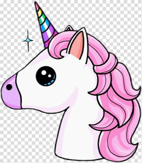 illustration de licorne rose et blanche, dessin de licorne Kavaii Cuteness, tête de licorne png