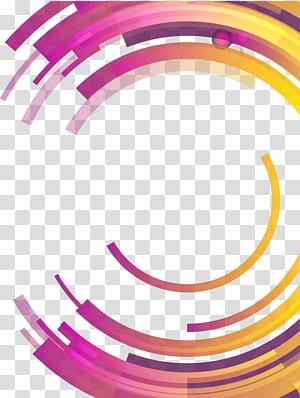 Abstraction de cercle Géométrie différentielle abstraite, cercle géométrique abstrait coloré, rond bleu, rose et jaune png