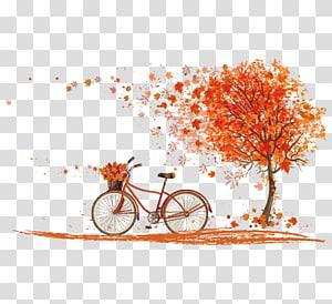 illustration de bicyclette près d'un arbre, couleur d'automne de bicyclette cyclisme, feuilles d'érable d'automne png