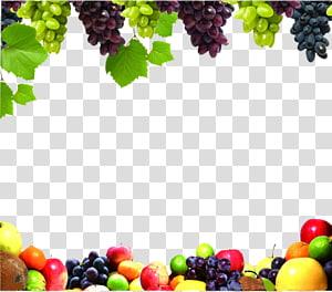 cadre de fruits assortis, jus de fruits légumes légumes raisin, bordure de fruits png