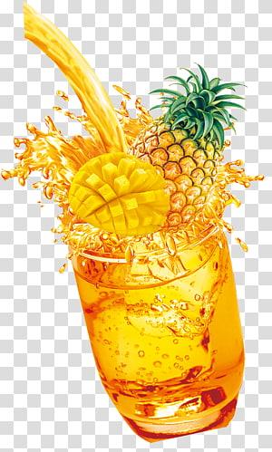 Jus d'ananas Mai Tai, jus d'ananas, ananas au verre à boire png