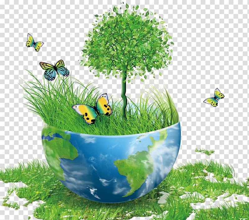 bol bleu et vert avec l'herbe verte et petit arbre animation illustration, terre protection de l'environnement conservation de l'énergie environnement naturel, terre verte png