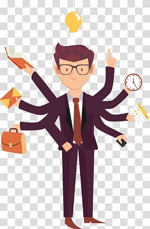 Job Business Employment Entrepreneurship, gens d'affaires occupés au dessin animé, illustration d'un homme vêtu d'un costume bordeaux à nombreuses mains png