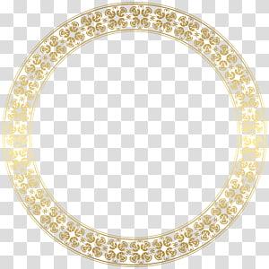 cadre doré, cadre rond doré, cadre rond brun sur fond bleu png