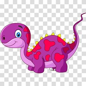 dinosaure violet et rose, Illustration de dessin animé de dinosaure Tyrannosaurus, dinosaures de dessin animé mignon png