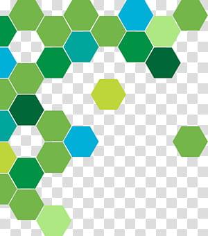 Cercle géométrique abstrait vert, motif nid d'abeille vert et bleu png