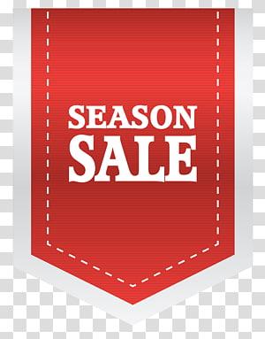 incrustation de texte de saison, étiquette autocollante, étiquette de vente de saison rouge png