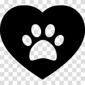 coeur noir et pied de chien, chien chat patte coeur, patte png