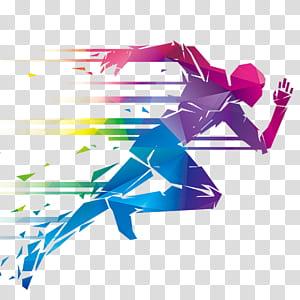 Illustration en cours d'exécution, créatif créatif, homme multicolore en cours d'exécution illustration png