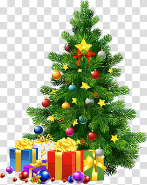 Père Noël Noël arbre de Noël, grand arbre de Noël avec des cadeaux, tee de Noël et cadeau png
