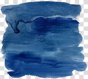 Aquarelle bleue Encre, effet aquarelle bleu foncé, peinture bleue png