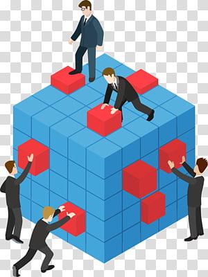 Illustration de travail d'équipe, travail d'équipe, cinq homme travaillant sur un cube png
