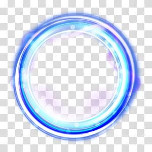 Effets lumineux brillants, lumière LED ronde bleue png
