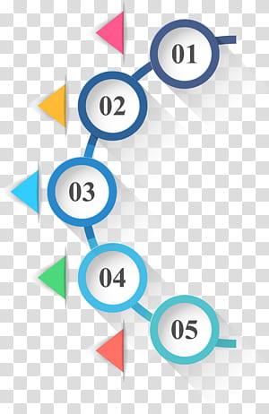 Icône de cercle d'infographie, infographie de cercles et de triangles PPT, texte 01-05 png