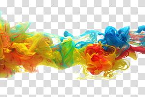 Pigment de peinture à l'aquarelle en papier à l'encre, illustration de fumée bleue, jaune et bleue png
