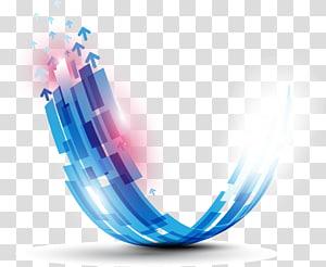 Forme de la courbe, informations de base de la technologie bleue, logo des flèches bleues et blanches png