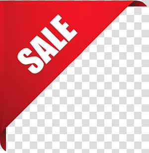 Autocollant de vente, coin de vente, fond rouge avec superposition de texte de vente png