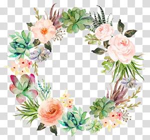 Invitation de mariage papier aquarelle peinture guirlande plante succulente, délicate couronne florale, illustration de guirlande florale multicolore png
